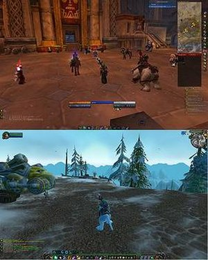 Gameplay of World of Warcraft - Comparison of a default World of Warcraft user interface (bottom) to a heavily modified one (top).