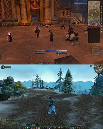 Massively multiplayer online role-playing game - A level 70 (currently the highest level attainable) character from World of Warcraft, with a heavily modified user interface.