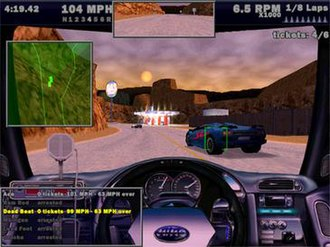 Need for Speed III: Hot Pursuit - The player as a police unit, attempting to arrest the remaining two racers