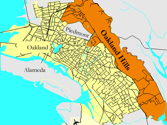 Oakland Hills, Oakland, California - The Oakland Hills (in gold) lie between Piedmont, The Berkeley Hills, the East Bay Regional Park District, and the rest of Oakland.