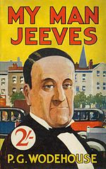 Book jacket with drawing of bust of middle-aged man in formal clothes, in the foreground, with a lively city street scene behind him