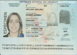 Uruguayan passport - Picture page of a Uruguayan e-Passport