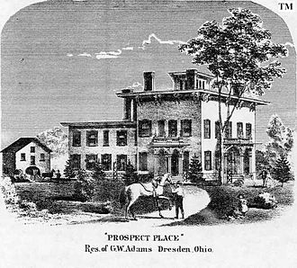Prospect Place - Prospect Place mansion as it appeared in the 1866 epigraphic survey of southeastern Ohio.
