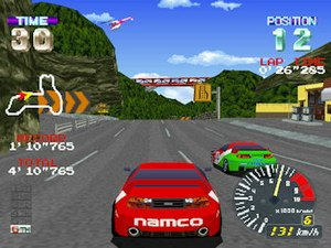 Ridge Racer Revolution - A race in progress.