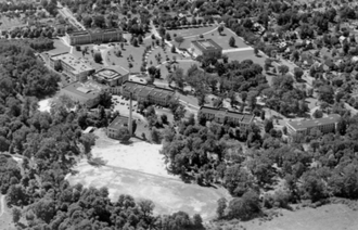 Rockwell Field (Kent State) - Aerial of Kent State University in the early 1930s with Rockwell Field visible at bottom center