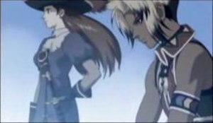 "Suikoden III - A scene from the opening movie, in which ""Exceeding Love"" plays. It shows one of the protagonists (Hugo, right) and a Star of Destiny (Lilly Pendragon, left)."