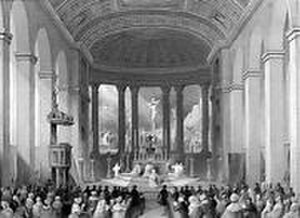 Agostino Aglio - The now demolished church of St Mary Moorfields, London: Aglio painted the panoramic fresco of the Crucifixion behind the high altar.