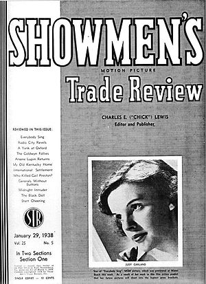 "Showmen's Trade Review - Showmen's Trade Review cover, January 29, 1938, featuring actress-singer Judy Garland, then starring in ""Everybody Sing"""