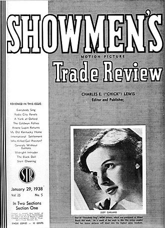 """Showmen's Trade Review - Showmen's Trade Review cover, January 29, 1938, featuring actress-singer Judy Garland, then starring in """"Everybody Sing"""""""