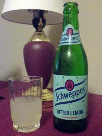 Bitter lemon - Schweppes Bitter Lemon. Vintage bottle shown.