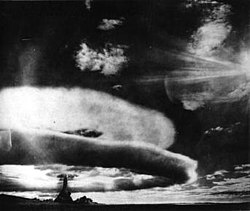 "The mushroom cloud from the first ""true"" Soviet hydrogen bomb test in 1955."