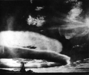 Soviet atomic bomb project - The mushroom cloud from the first air-dropped bomb test in 1951. This picture is confused with RDS-27 and RDS-37 tests.