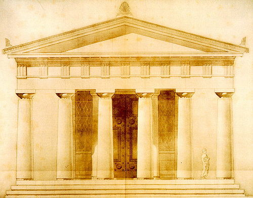 Temple of the Delians at Delos, dedicated to Apollo (478 BC). 19th-century pen-and-wash restoration. TempleDelos.jpg
