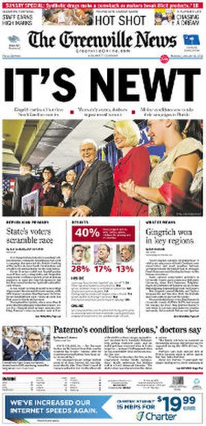 The Greenville News - Image: The Greenville News front page