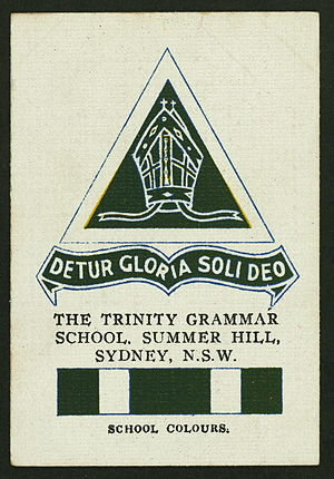 Trinity Grammar School (New South Wales) - Collectable Cigarette card featuring the Trinity colours and crest, c.1920s
