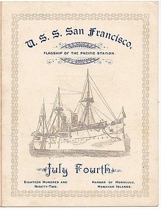 Yates Stirling Jr. - USS San Francisco, program of 4 July 1892 Independence Day festivities.