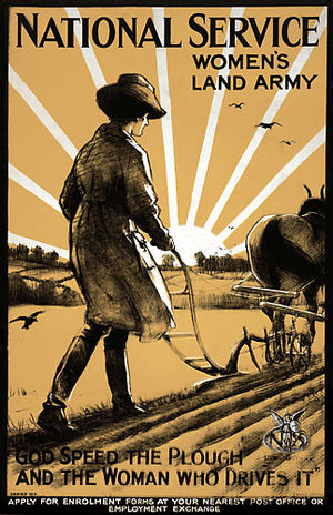 Women's Land Army - World War One recruitment poster for the Women's Land Army