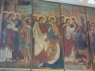 St George's Church, Belfast - A painted relief on a side wall in the church chancel.
