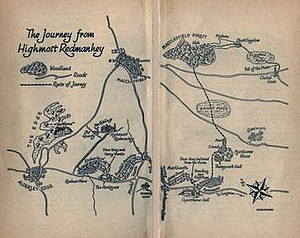The Weirdstone of Brisingamen - Map drawn by Charles Green to illustrate the book.