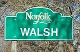 Walsh entrance sign after re-establishment of Norfolk County in 2001.