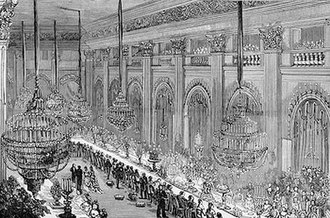 Neva Enfilade of the Winter Palace - A banquet in the Nicholas Hall in 1874