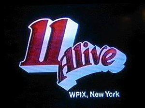 "WPIX - The first 11 Alive logo, which was used from 1976 to 1982. A Slightly modified version of the logo is also used for its 11.2 Subchannel where the "".2"" was added next to the 11."