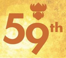 "Logo reads ""59th"" with the lotus symbol on top and golden yellow background"