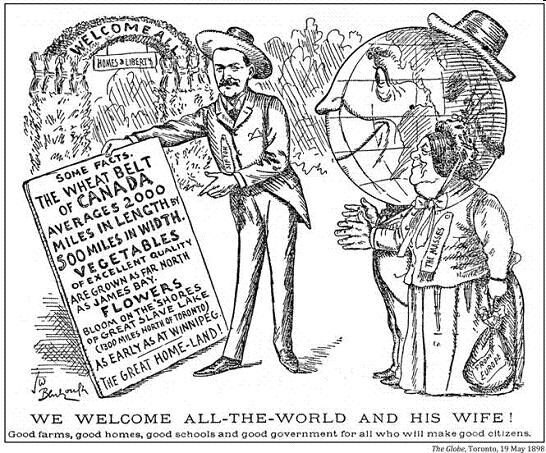 Ad to attract Immigrants to wheat belt in 1898