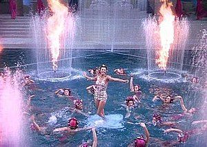 Bathing Beauty - Esther Williams emerges from the water during the finale.