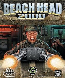"A helmeted soldier firing a large mounted gun from inside a fortification, in the background another helmeted soldier covers his ears, the title ""Beach Head 2000"" is above in large block letters"