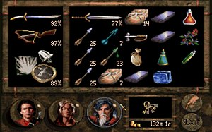 Betrayal at Krondor - Inventory screen.