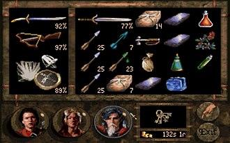 Betrayal at Krondor - Inventory screen.