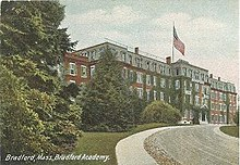A colored postcard of a red brick building