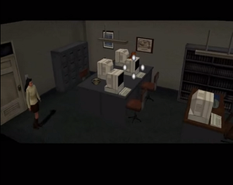Clock Tower (1996 video game) - Jennifer is directed to examine a computer after the player clicked on it