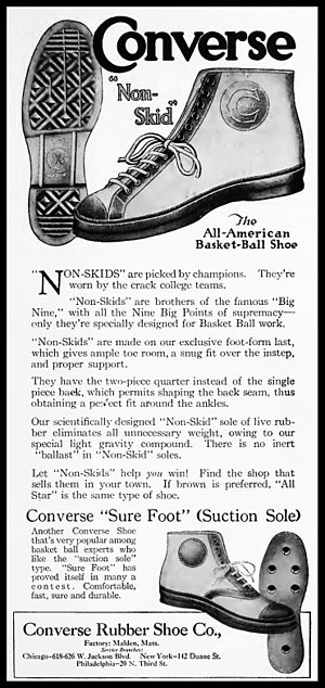 "Chuck Taylor All-Stars - Ad from 1920 for the forerunner of the Chuck Taylor All Star, Converse ""Non-Skids."""