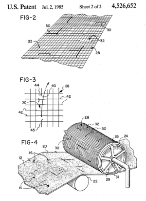 Watermark - A perspective view of a dandy roll in accordance with the invention of a conventional paper-making machine incorporating watermarks into the paper.