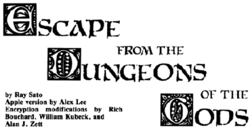 Title block for Escape from the Dungeons of the Gods from Best of SoftSide.