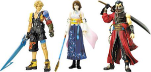 Final Fantasy X - Action figures of the characters Tidus, Yuna, and Auron