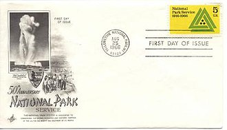 Mission 66 - First Day cover of 50th Anniversary of National Park Service commemorative stamp