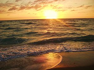 Hollywood, Florida - Sun rising over the Atlantic Ocean in Hollywood