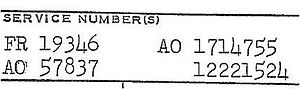 Service number (United States Air Force) - A collection of service numbers from a United States Air Force officer's service record. From left to right (top to bottom): A Regular Air Force officer number, an Army Air Forces Reserve officer number, a Regular Army (Air Corps) officer number, and a Regular Army enlisted number.