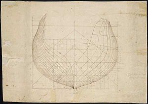 Josiah Fox - Hull drawing of the U.S.S. ''Constellation'' and U.S.S. ''Congress'', 1795.  Josiah Fox was responsible for putting Humphreys' designs onto paper.