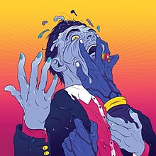 A surrealist illustration of a seemingly-melting faith healer with blue blue, grabbed by two disembodied hands, on an orange–pink backdrop.