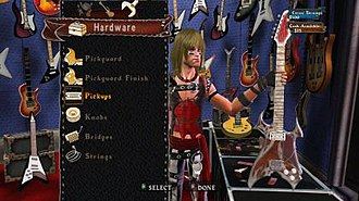 Guitar Hero World Tour - Players are able to alter aspects or characters or customize their own character within Guitar Hero World Tour.