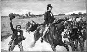 James B. Ray - Gov. Ray arrives to pardon the minor convicted of murder in the Fall Creek Massacre as depicted in the book Stories of Indiana, by Maurice Thompson.
