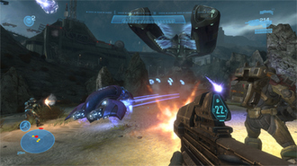 Halo: Reach - The player character fires his assault rifle at enemy Covenant forces, flanked by members of Noble Team.