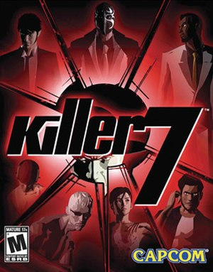 Killer7 - The North American cover art features, clockwise from top-left, Dan, MASK, Garcian, Coyote, KAEDE, Kevin, and Con Smith. Harman Smith appears behind the logo.
