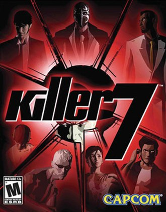 Killer7 - North American cover art featuring (clockwise from upper left) Dan, Mask, Garcian, Coyote, Kaede, Kevin, and Con Smith. Harman Smith appears behind the logo.
