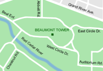 Beaumont Tower - Beaumont Tower's location within the campus