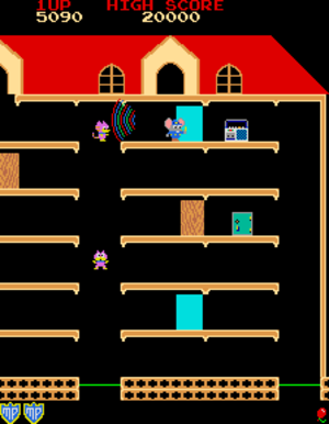 Mappy - Screenshot of Mappy (arcade version)